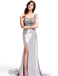 A-Line/Princess Sweetheart Watteau Train Charmeuse Evening Dress With Beading Sequins Split Front (017019579)