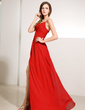 A-Line/Princess V-neck Floor-Length Chiffon Evening Dress With Ruffle Beading Split Front (017014229)