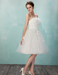 A-Line/Princess Strapless Knee-Length Tulle Homecoming Dress With Ruffle Beading Flower(s) (022011337)