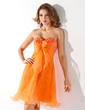 Empire Sweetheart Knee-Length Organza Homecoming Dress With Beading Bow(s) Pleated (022020882)