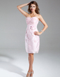 Sheath/Column Sweetheart Knee-Length Taffeta Homecoming Dress With Beading Appliques Lace Flower(s) (022015377)