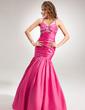Trumpet/Mermaid Halter Floor-Length Taffeta Holiday Dress With Ruffle Beading (020025983)