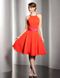 A-Line/Princess Scoop Neck Knee-Length Chiffon Homecoming Dress With Sash (022014493)
