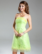 A-Line/Princess Strapless Knee-Length Organza Homecoming Dress With Ruffle (022015331)
