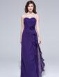 Sheath/Column Sweetheart Floor-Length Chiffon Bridesmaid Dress With Flower(s) Cascading Ruffles (007037170)