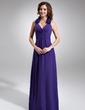 A-Line/Princess Halter Floor-Length Chiffon Bridesmaid Dress With Ruffle Flower(s) (007016740)