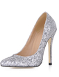 Women's Sparkling Glitter Stiletto Heel Closed Toe Pumps With Sequin (047020486)