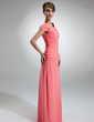 A-Line/Princess Off-the-Shoulder Floor-Length Chiffon Mother of the Bride Dress With Ruffle Beading (008006053)