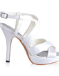 Women's Silk Like Satin Stiletto Heel Platform Sandals Slingbacks (047030349)