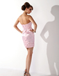 Sheath/Column Sweetheart Short/Mini Charmeuse Cocktail Dress With Beading Appliques Lace (016021151)