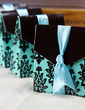 Turquoise And Brown Flourish Favor Boxes With Ribbons (Set of 12) (050005744)