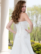 Forme Princesse Bustier en coeur Traîne moyenne Tulle Robe de mariée avec Plissé Emperler Motifs appliqués Dentelle (002000492)