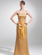Sheath/Column Strapless Floor-Length Charmeuse Mother of the Bride Dress With Ruffle Beading (008016165)