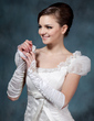 Elastic Satin Elbow Length Bridal Gloves (014020479)