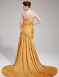 Trumpet/Mermaid One-Shoulder Court Train Satin Chiffon Evening Dress With Ruffle Beading Split Front (017019748)