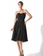 Çan/Prenses Kalp Kesimli Diz Hizası Şifon Kısa Siyah Elbise Ile Büzgü (043004243)