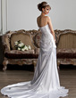 A-Line/Princess Sweetheart Court Train Charmeuse Wedding Dress With Ruffle Lace Beading Sequins (002011640)