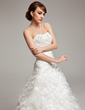 A-Line/Princess Sweetheart Chapel Train Organza Wedding Dress With Beading Cascading Ruffles (002017533)