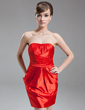 Sheath/Column Sweetheart Short/Mini Taffeta Cocktail Dress With Ruffle (008016278)