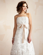 A-Line/Princess Scalloped Neck Knee-Length Lace Wedding Dress With Ruffle Sash Bow(s) (002011527)