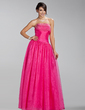 A-Line/Princess Strapless Floor-Length Organza Bridesmaid Dress With Ruffle Beading (007005227)
