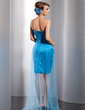 Sheath/Column Sweetheart Asymmetrical Satin Tulle Feather Prom Dress With Beading Sequins (018014760)
