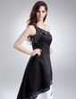 A-Line/Princess One-Shoulder Ankle-Length Satin Prom Dress With Appliques Lace (018015907)