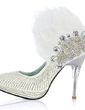 Women's Leatherette Stiletto Heel Closed Toe Pumps With Beading Feather Rhinestone Sequin (047020109)