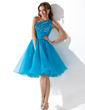 A-Line/Princess One-Shoulder Knee-Length Organza Sequined Homecoming Dress With Ruffle Beading (022010575)