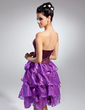 A-Line/Princess Strapless Knee-Length Satin Organza Cocktail Dress With Beading (016015114)