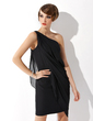 Sheath/Column One-Shoulder Knee-Length Chiffon Cocktail Dress With Ruffle (016021169)