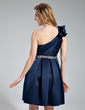 A-Line/Princess One-Shoulder Knee-Length Satin Homecoming Dress With Sash Beading Bow(s) (022019553)