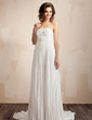 Empire Strapless Court Train Chiffon Lace Wedding Dress With Lace Beading Pleated (002011587)
