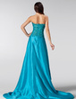 A-Line/Princess Sweetheart Court Train Taffeta Prom Dress With Beading Sequins Split Front (018020582)