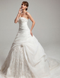 Ball-Gown Sweetheart Court Train Organza Lace Wedding Dress With Ruffle Beading Flower(s) (002017546)