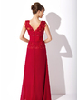 A-Line/Princess V-neck Floor-Length Chiffon Mother of the Bride Dress With Ruffle Lace Beading Sequins (008006124)