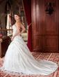 Duchesse-Linie Trägerlos Kapelle-schleppe Satin Brautkleid mit Rüschen Perlen verziert Applikationen Spitze Pailletten (002000616)