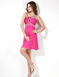 Empire One-Shoulder Short/Mini Chiffon Homecoming Dress With Ruffle Beading (022009430)