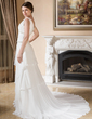 A-Line/Princess V-neck Chapel Train Chiffon Wedding Dress With Ruffle Beading (002001318)