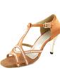 Kadın Saten Topuk Sandalet Latin Balo Ile Yapay elmas T-Askı Dans Ayakkabıları (053013455)