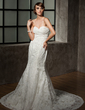 Trumpet/Mermaid Sweetheart Chapel Train Lace Wedding Dress With Ruffle Beading (002011493)