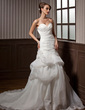 A-Line/Princess Sweetheart Chapel Train Organza Wedding Dress With Ruffle Appliques Lace Flower(s) (002012788)