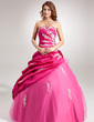 Ball-Gown Scalloped Neck Floor-Length Taffeta Tulle Quinceanera Dress With Ruffle Beading Appliques Lace Flower(s) Sequins (021004655)