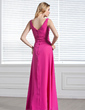 A-Line/Princess V-neck Floor-Length Chiffon Bridesmaid Dress With Ruffle (007001819)