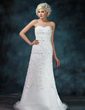 A-Line/Princess Sweetheart Court Train Organza Lace Wedding Dress With Ruffle Beading Sequins (002000155)