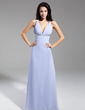 A-Line/Princess V-neck Floor-Length Chiffon Evening Dress With Ruffle Beading Sequins Bow(s) (008014939)