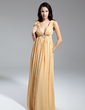 Empire V-neck Floor-Length Chiffon Mother of the Bride Dress With Ruffle Beading (008014934)