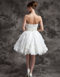 A-Line/Princess Strapless Knee-Length Organza Wedding Dress With Ruffle Beading Flower(s) (002024080)