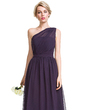 A-Line/Princess One-Shoulder Floor-Length Chiffon Bridesmaid Dress With Ruffle (007087736)