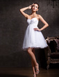 A-Line/Princess Sweetheart Short/Mini Tulle Homecoming Dress With Beading Appliques Lace (022020906)